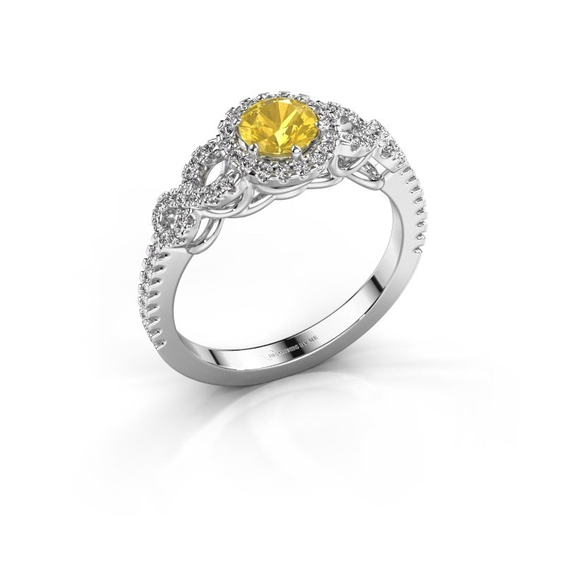 Engagement ring Sasja 950 platinum yellow sapphire 5 mm