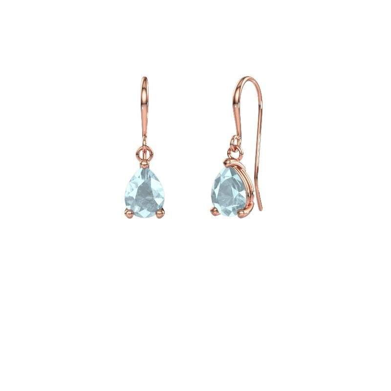 Drop earrings Laurie 1 375 rose gold aquamarine 8x6 mm