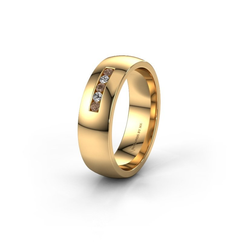 Wedding ring WH0107L26BP 585 gold brown diamond ±0.24x0.08 in