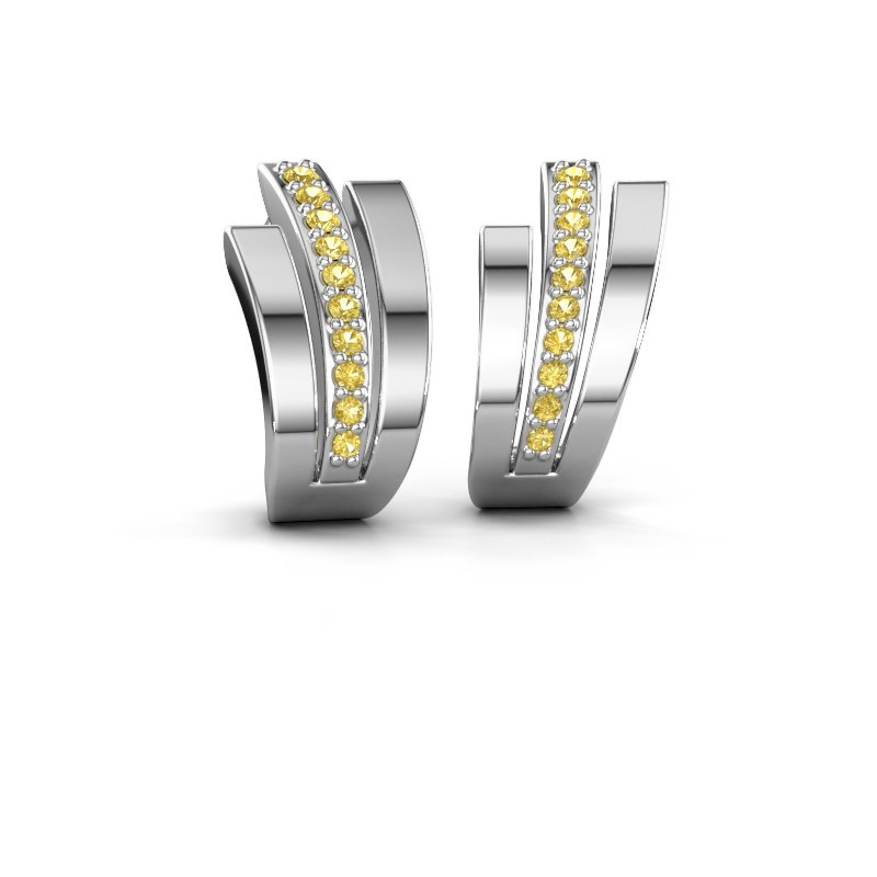 Oorbellen Emeline 925 zilver gele saffier 1.1 mm