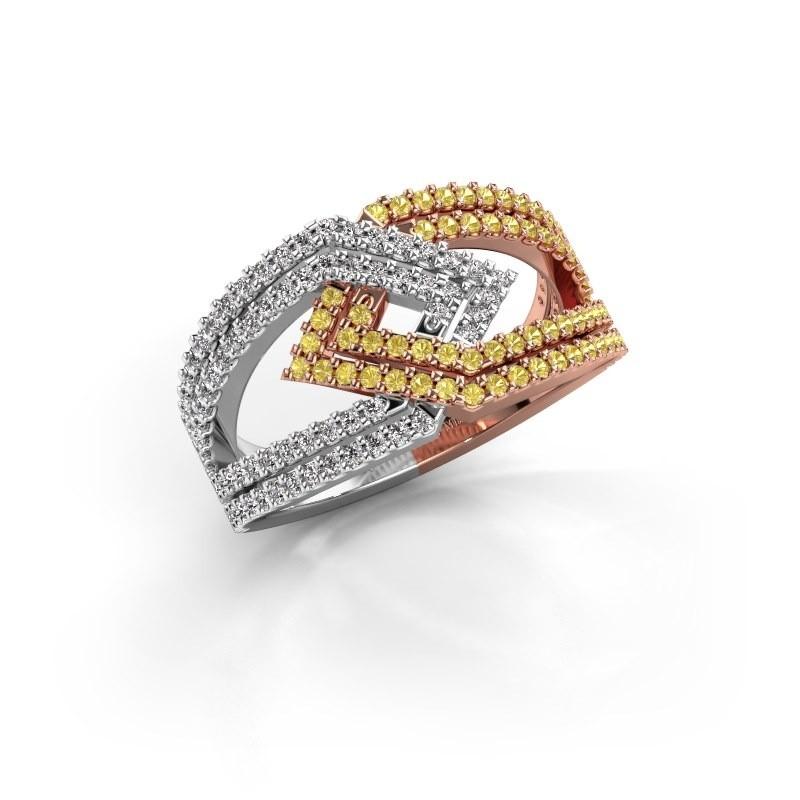 Ring Emanuelle 585 rosé goud gele saffier 1 mm