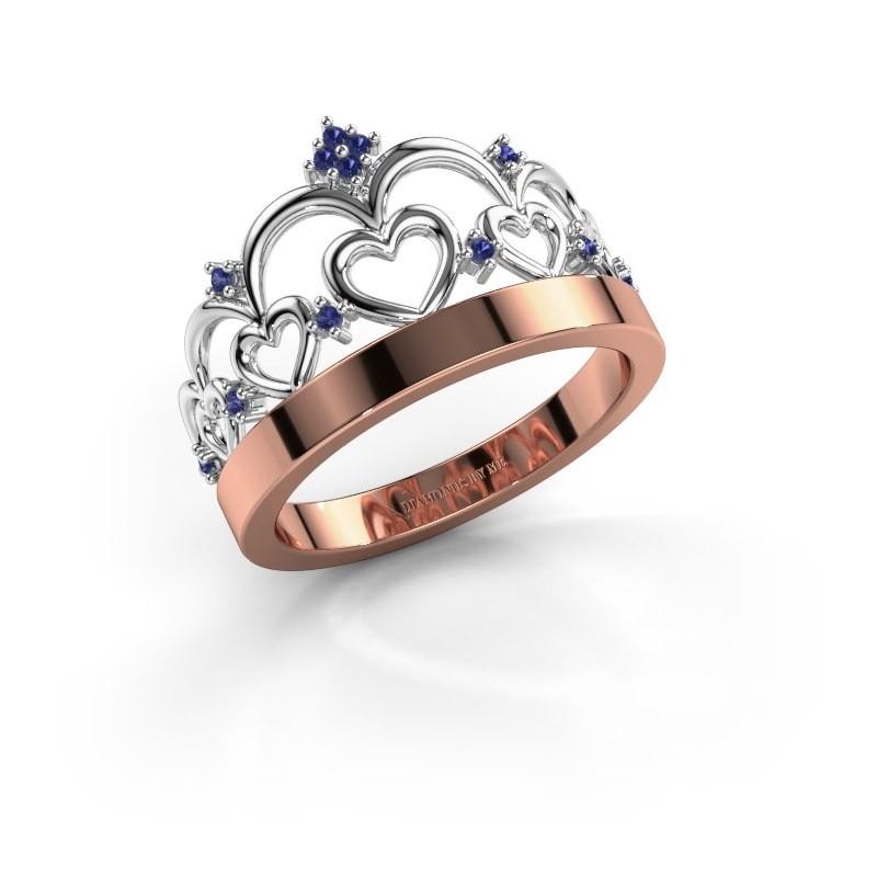 Ring Kroon 1 585 rosé goud saffier 1 mm