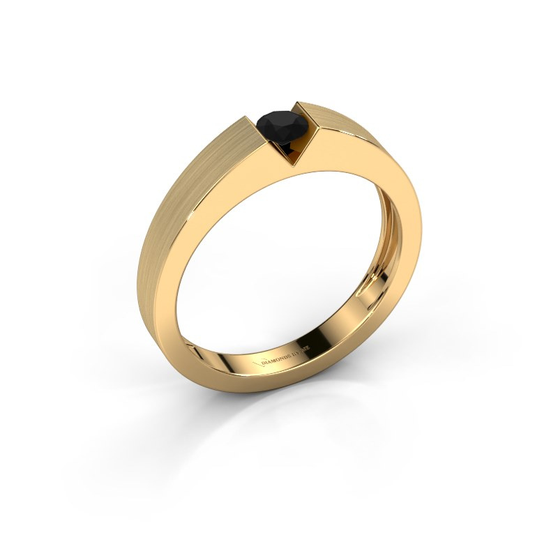 Verlovingsring Lizzy 1 585 goud zwarte diamant 0.24 crt