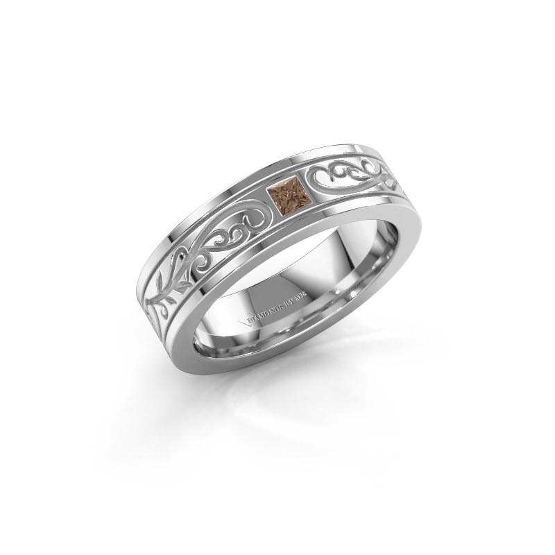 Heren ring Matijs 585 witgoud bruine diamant 0.17 crt