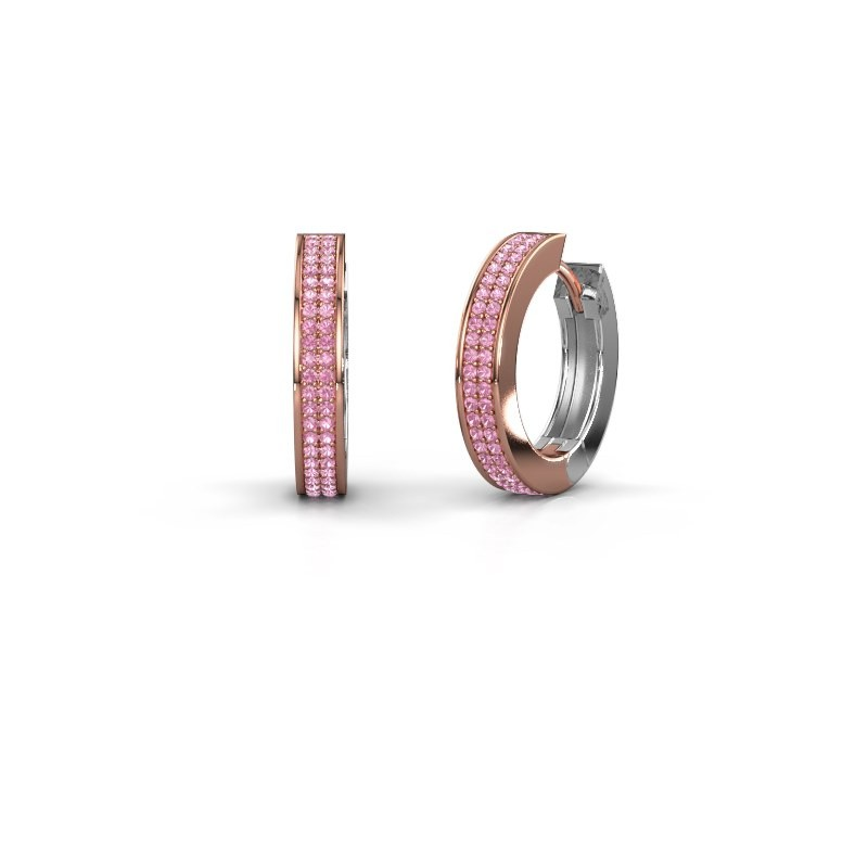 Creolen Renee 5 12 mm 585 rosé goud roze saffier 1 mm