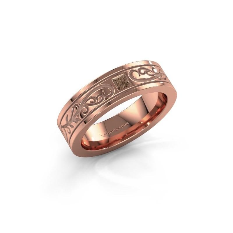 Heren ring Matijs 375 rosé goud bruine diamant 0.17 crt