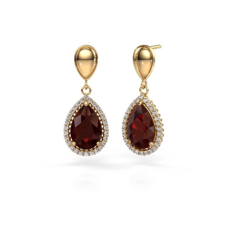 Drop earrings Tilly per 1 585 gold garnet 12x8 mm