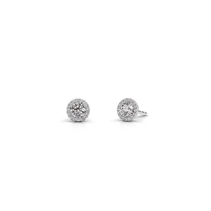 Earrings Seline rnd 585 white gold zirconia 4 mm