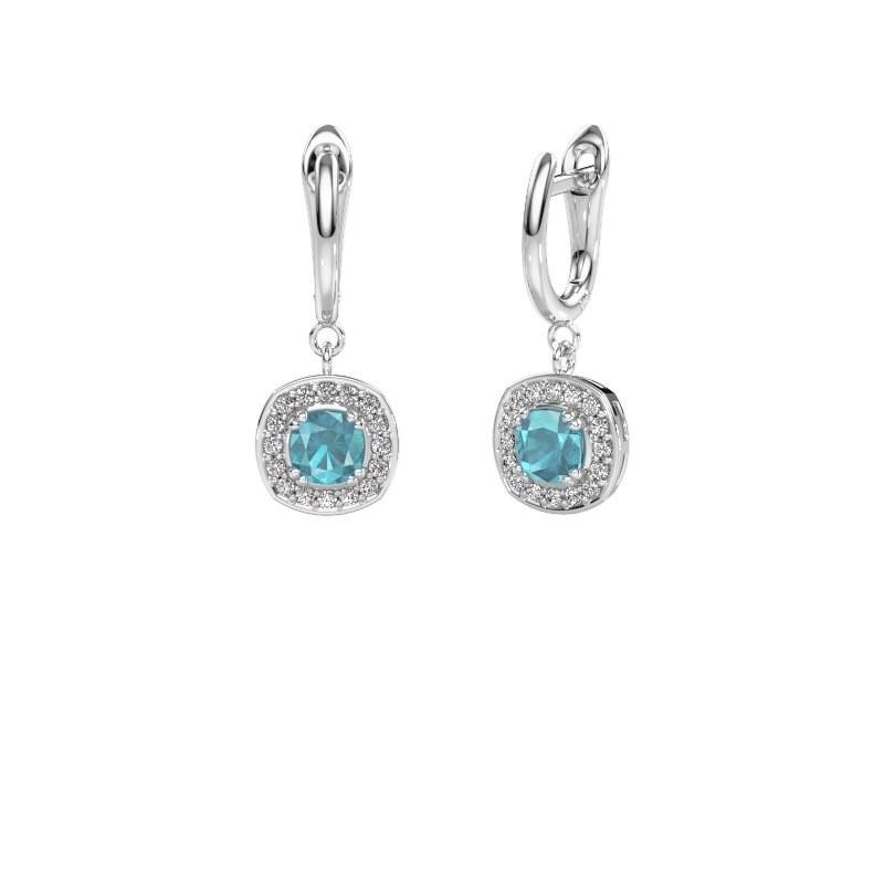 Drop earrings Marlotte 1 950 platinum blue topaz 5 mm