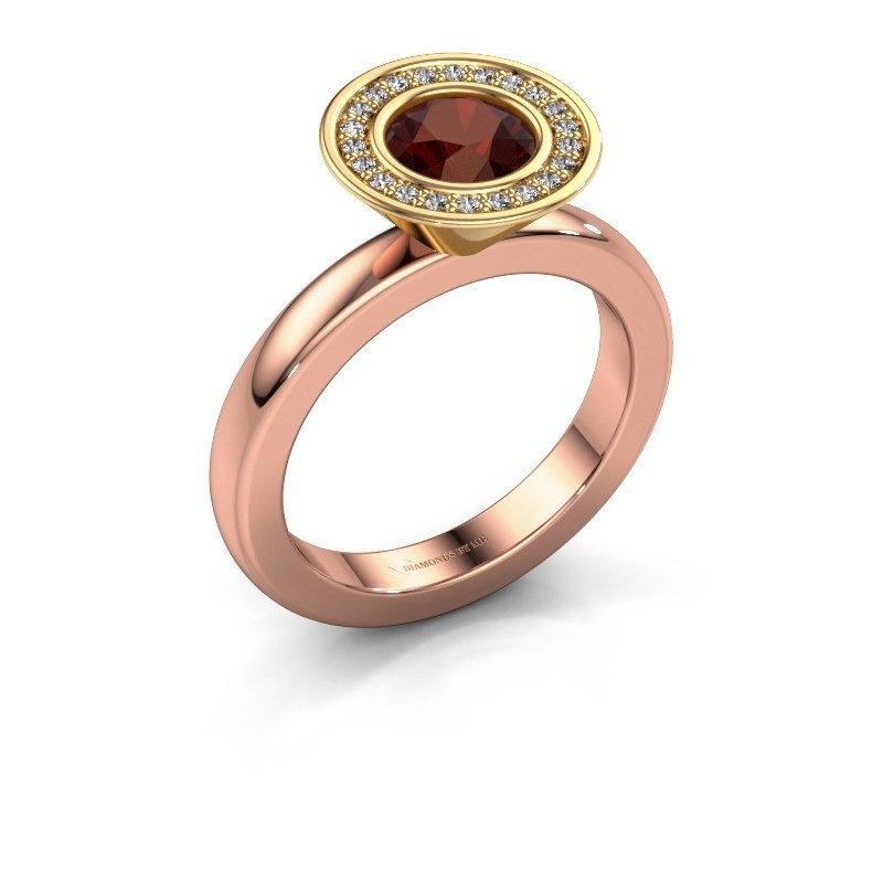 Stapelring Danille 585 rosé goud granaat 6 mm