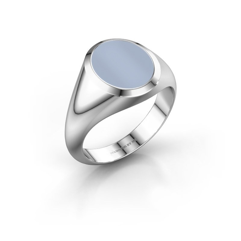 Signet ring Evon 2 950 platinum light blue sardonyx 12x10 mm