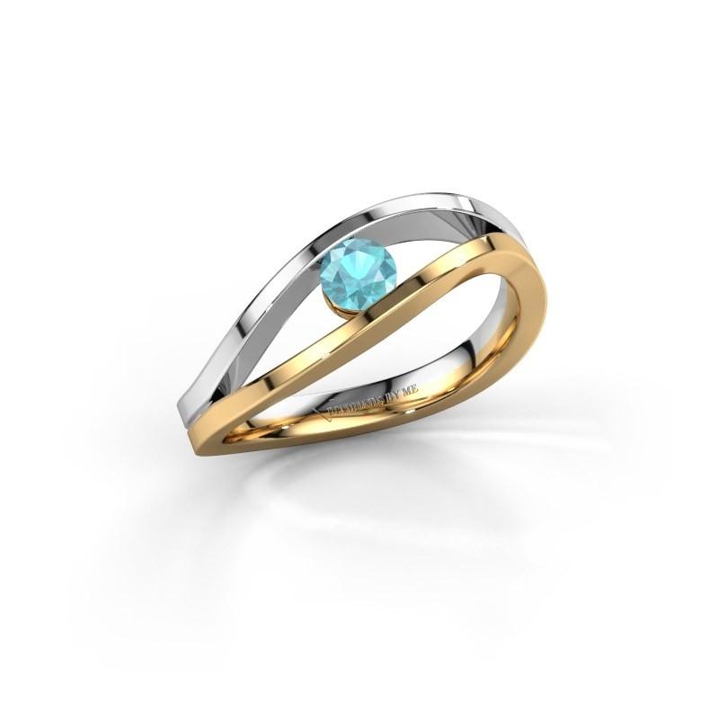 Engagement ring Sigrid 1 585 gold blue topaz 3.7 mm