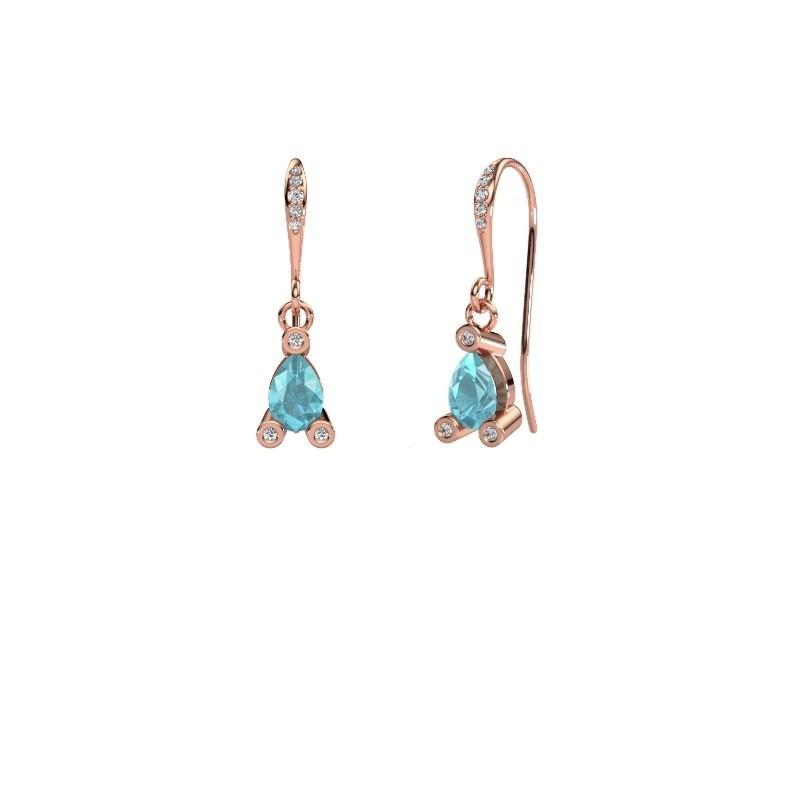 Drop earrings Bunny 2 375 rose gold blue topaz 7x5 mm