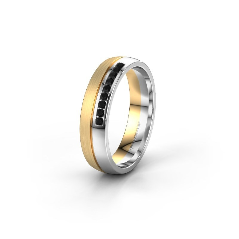 Wedding ring WH0209L25APM 585 gold black diamond ±0.20x0.07 in