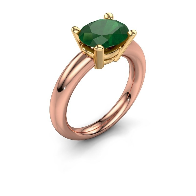 Ring Janiece 585 rose gold emerald 10x8 mm