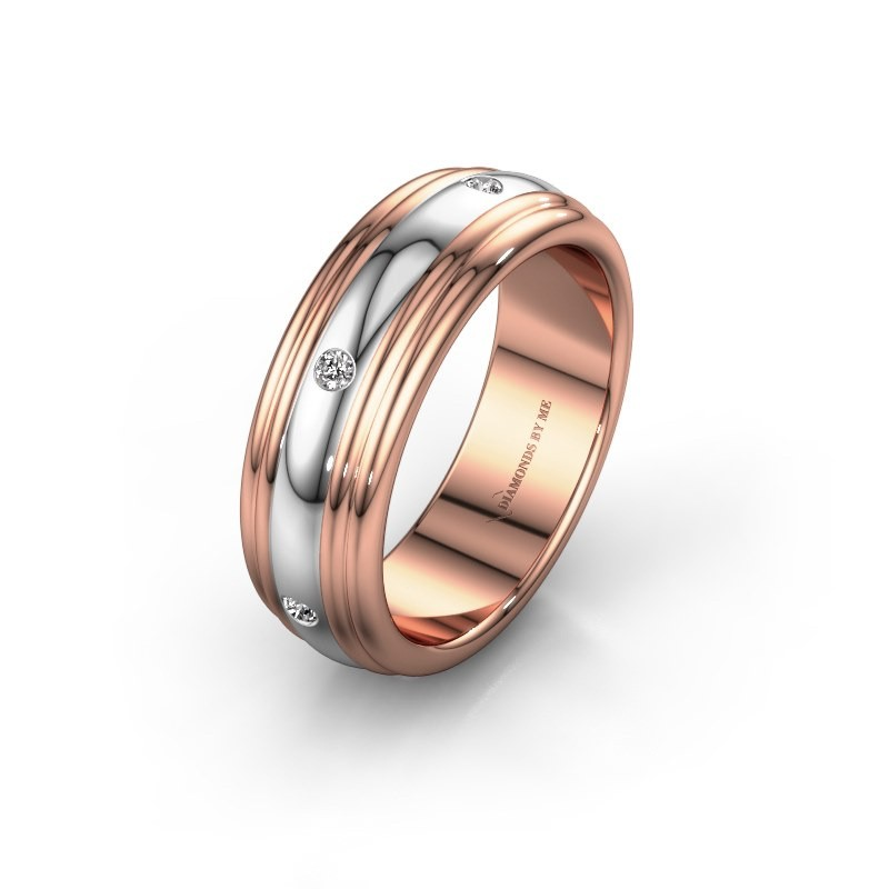 Trouwring WH2236L 585 rosé goud diamant ±6x2.2 mm