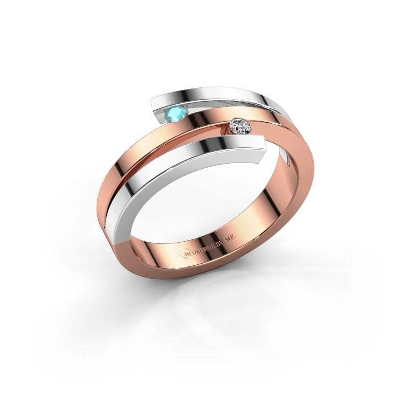 Ring Roxane 585 rosé goud blauw topaas 2 mm