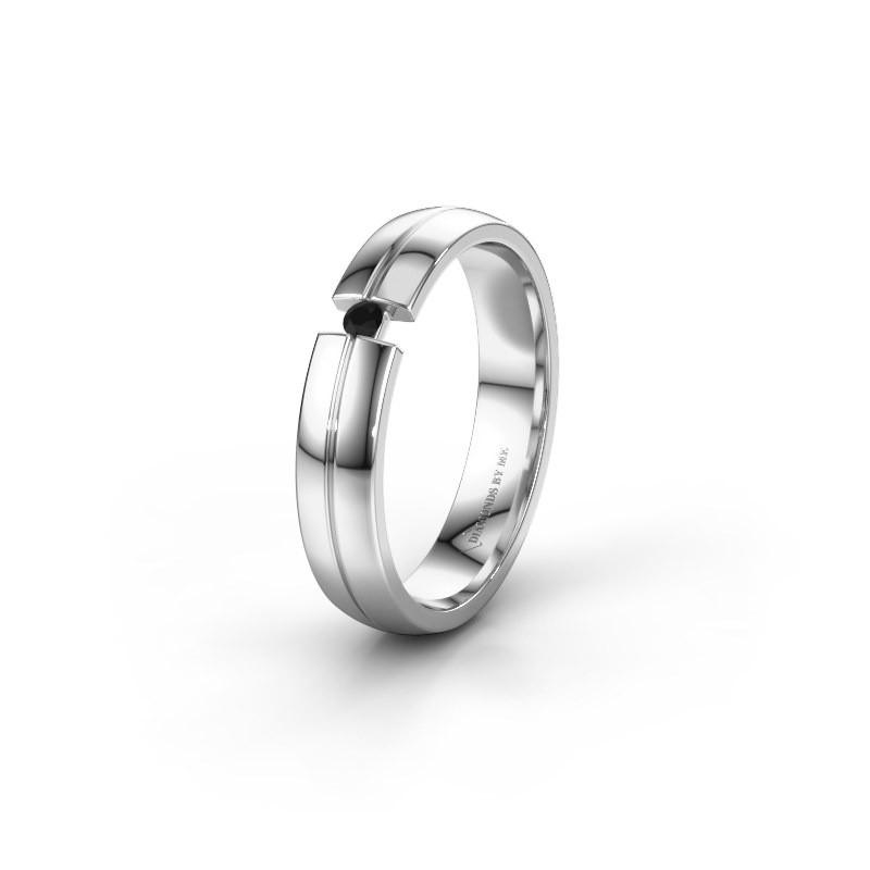 Trouwring WH0254L24X 585 witgoud zwarte diamant ±4x1.5 mm