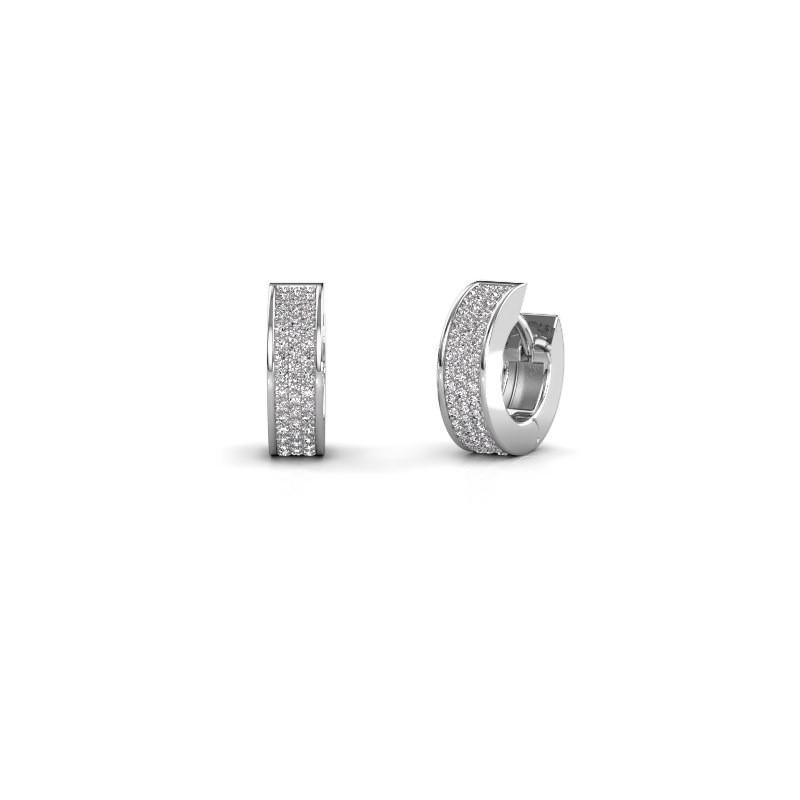 Creolen Renee 3 9 mm 585 witgoud diamant 0.70 crt