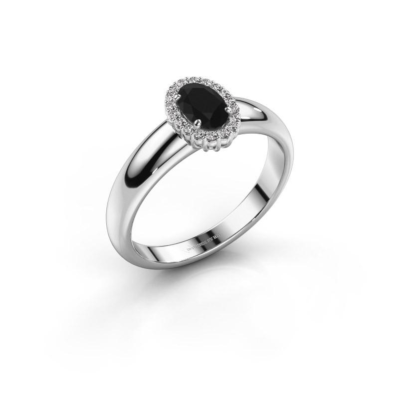 Verlovingsring Tamie 585 witgoud zwarte diamant 0.69 crt
