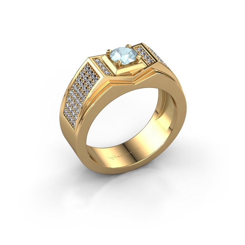 Men's ring Marcel 585 gold aquamarine 5 mm