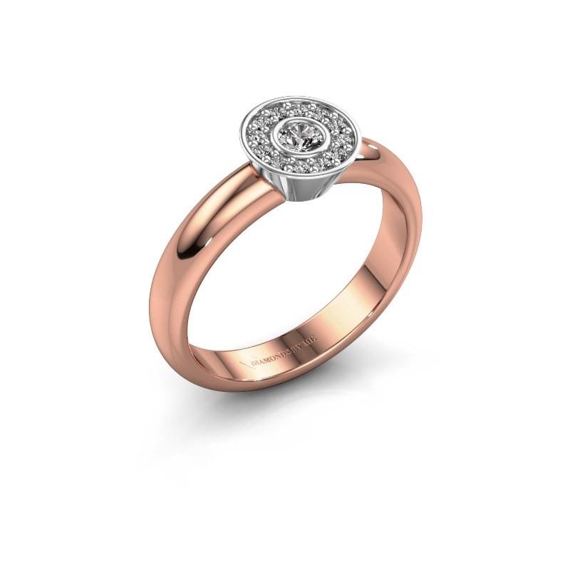 Bague Fiene 585 or rose diamant synthétique 0.17 crt