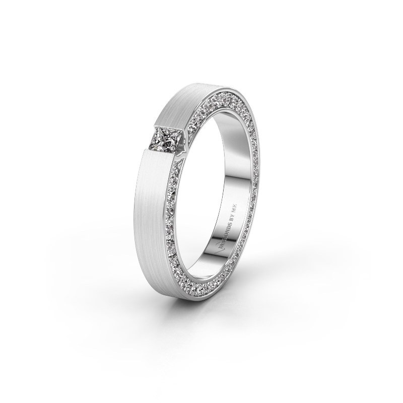 Trouwring WH2140L14B 585 witgoud diamant ±4x2 mm
