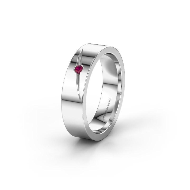 Wedding ring WH0170L15A 585 white gold rhodolite ±0.20x0.07 in