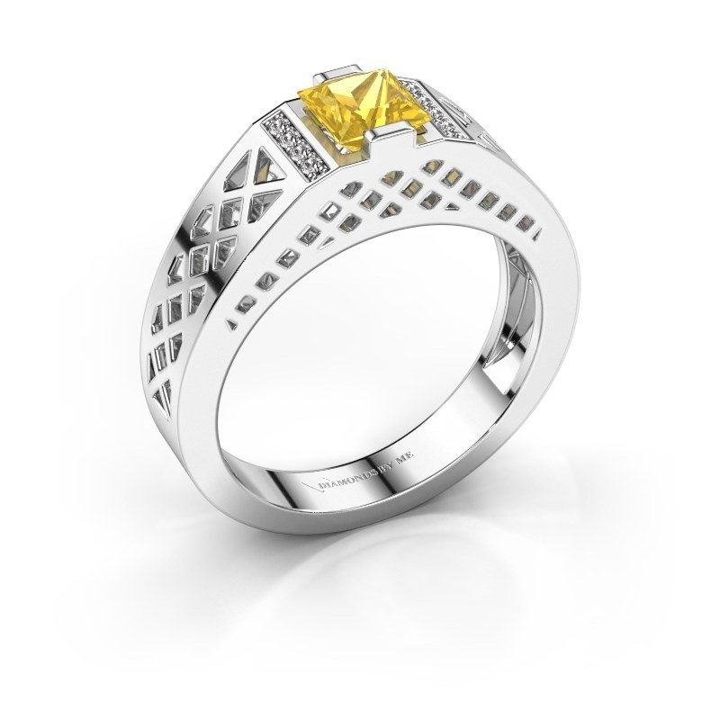Men's ring Jonathan 375 white gold yellow sapphire 5 mm