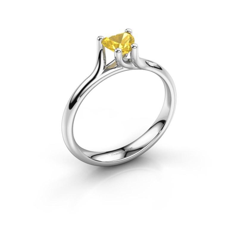 Engagement ring Dewi Heart 950 platinum yellow sapphire 5 mm