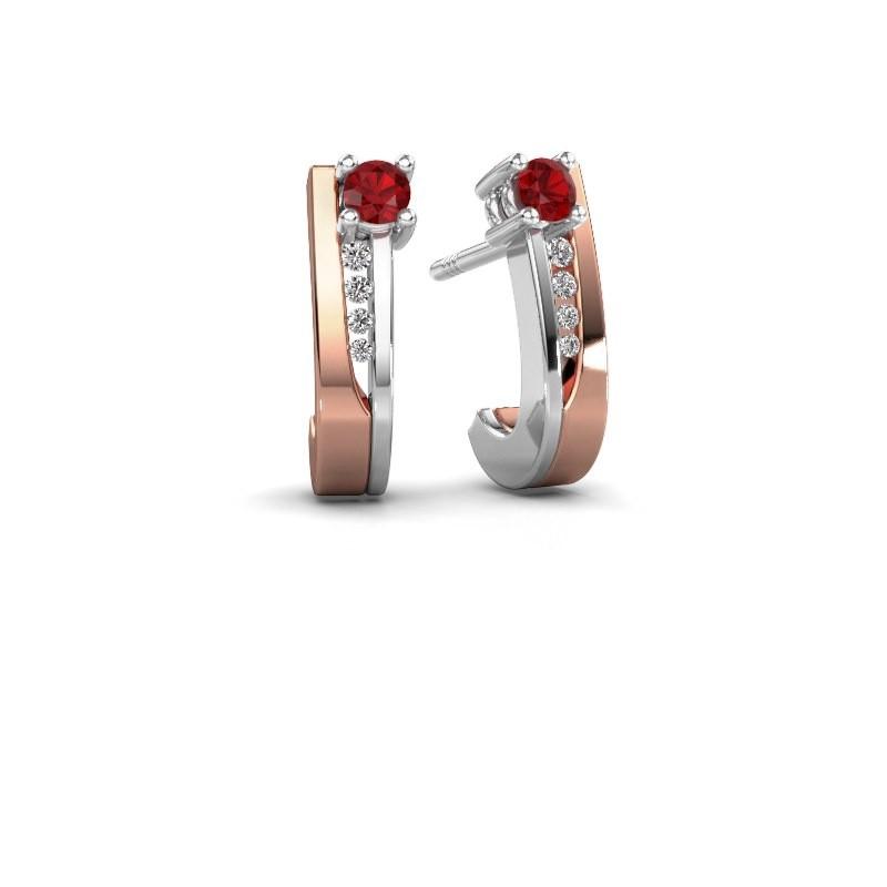 Oorbellen Jewell 585 rosé goud robijn 2.7 mm