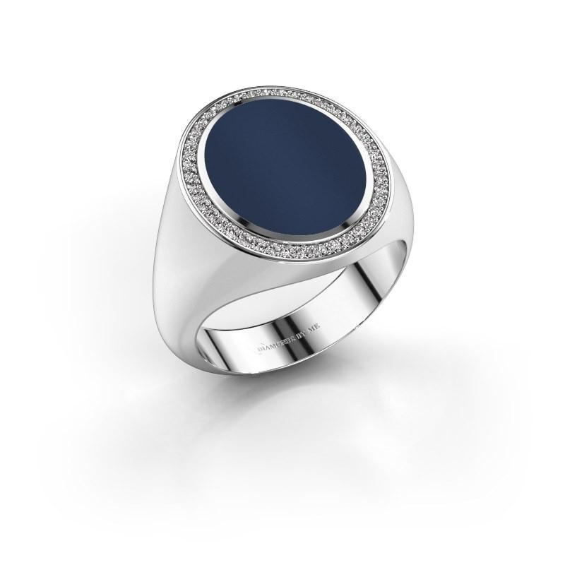 Zegelring Adam 4 585 witgoud donker blauw lagensteen 15x12 mm