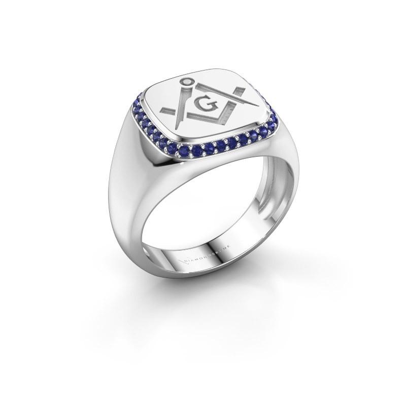 Men's ring Johan 375 white gold sapphire 1.2 mm