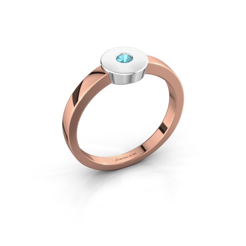 Ring Elisa 585 Roségold Blau Topas 3 mm