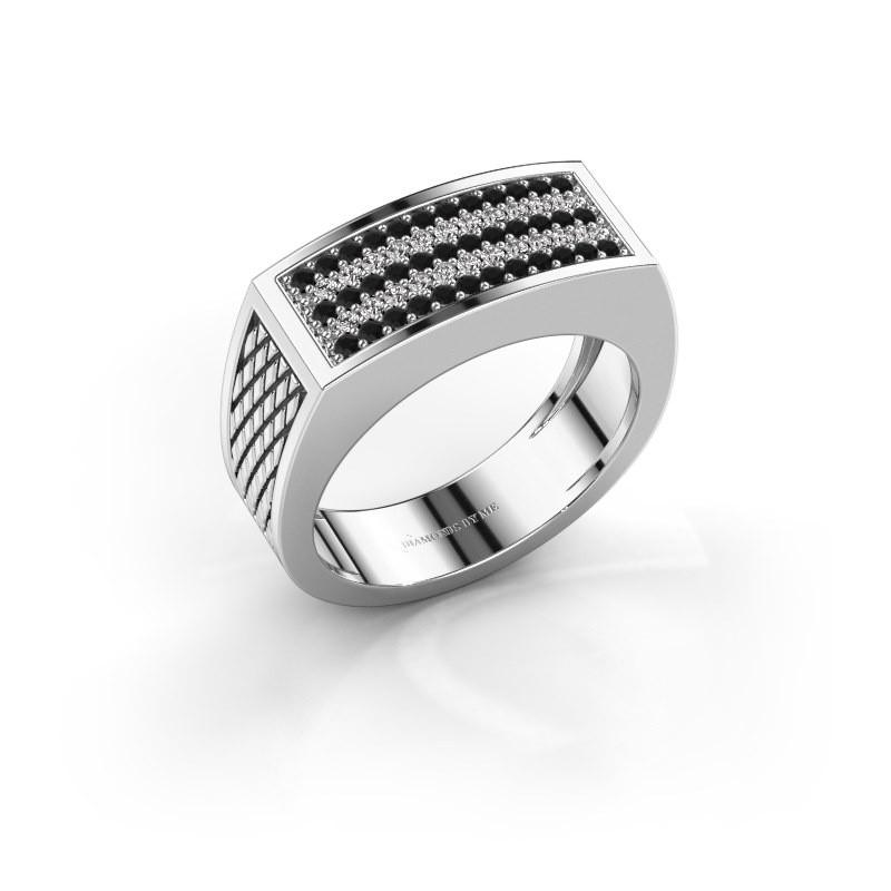 Heren ring Erwin 925 zilver zwarte diamant 0.489 crt
