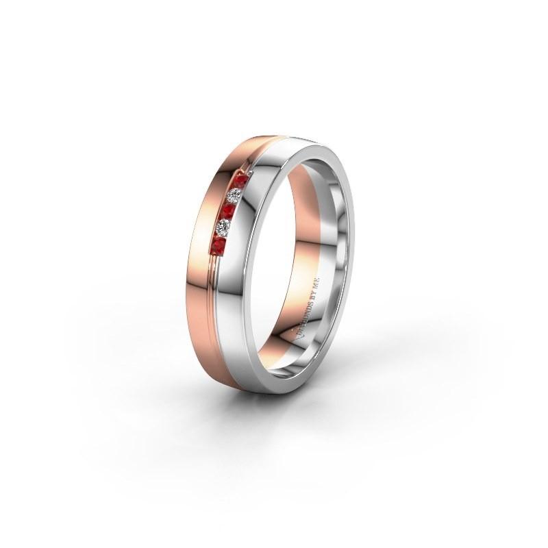 Trouwring WH0132L25B 585 rosé goud robijn ±5x2 mm