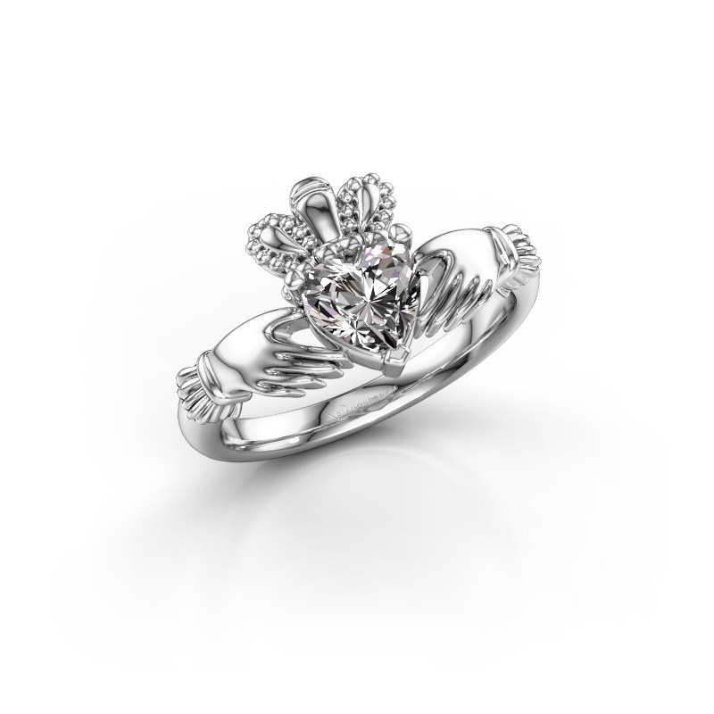 Ring Claddagh 2 925 zilver diamant 0.80 crt