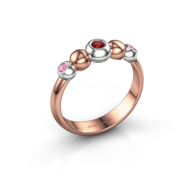 Stackable ring Lily 585 rose gold ruby 2.5 mm