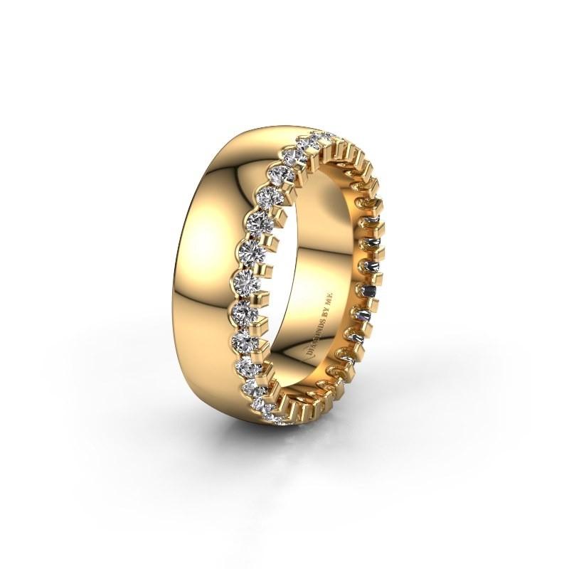 Trouwring WH6120L27C 375 goud zirkonia ±7x2.2 mm