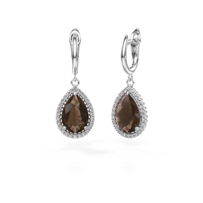 Drop earrings Hana 1 950 platinum smokey quartz 12x8 mm