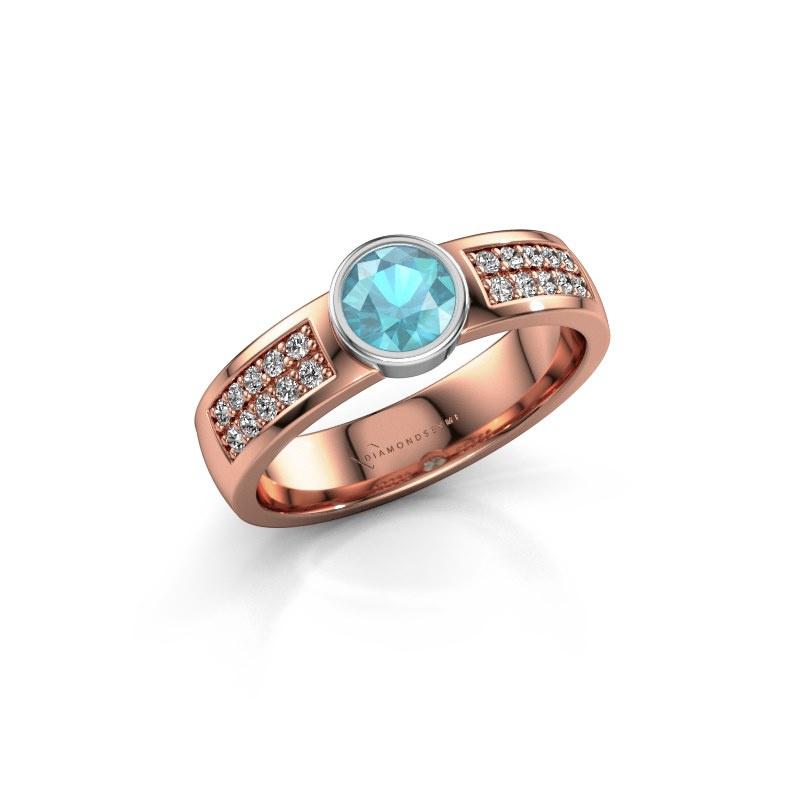 Engagement ring Ise 3 585 rose gold blue topaz 4.7 mm