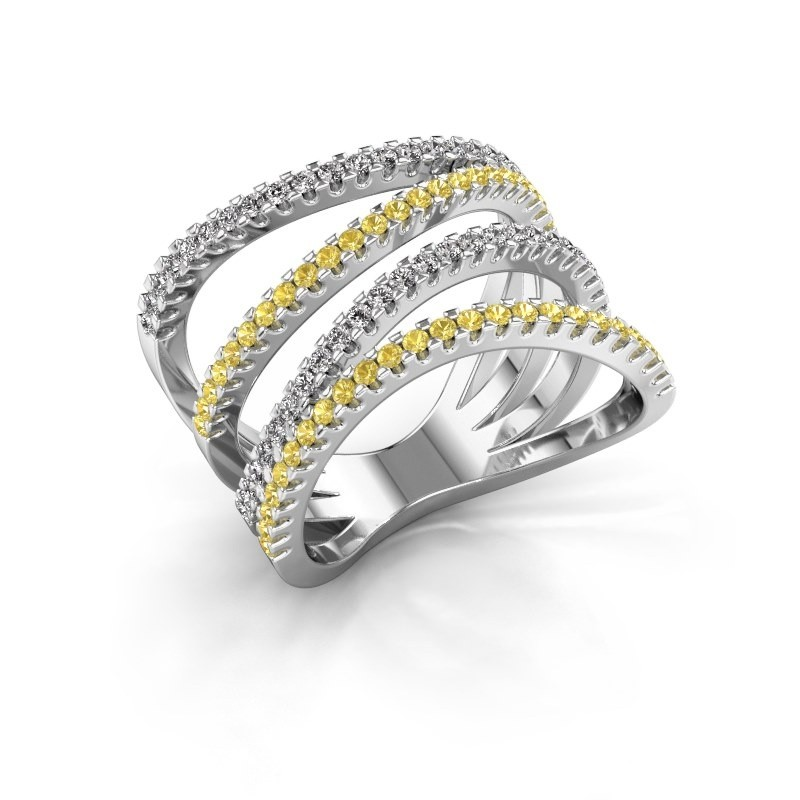 Ring Mitzi 950 platina gele saffier 1.2 mm