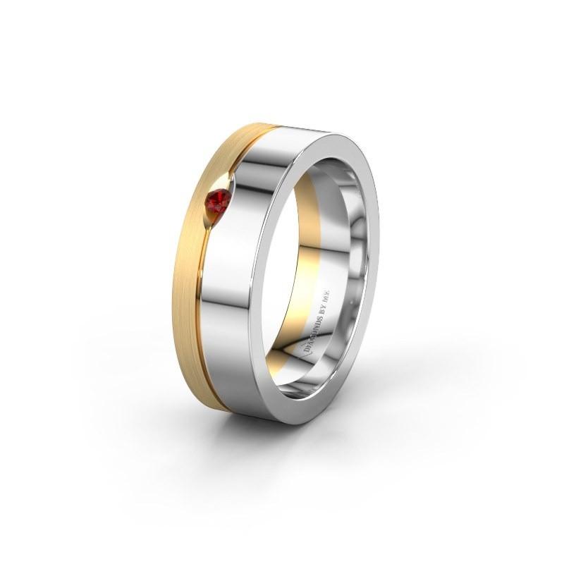 Wedding ring WH0329L16B 585 white gold garnet ±0.24x0.08 in