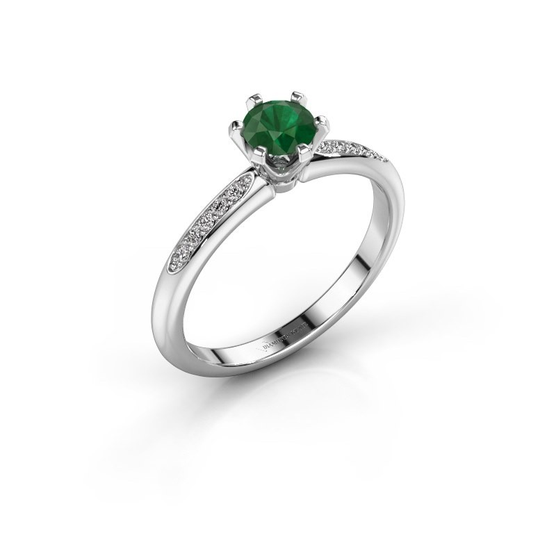 Verlovingsring Tiffy 2 585 witgoud smaragd 4.7 mm