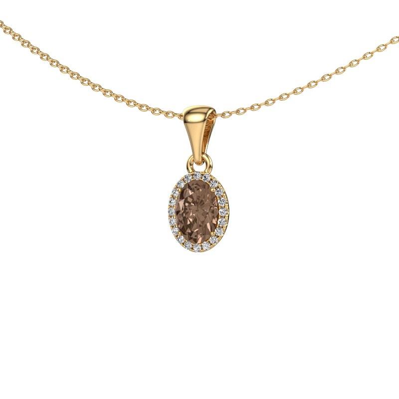 Hanger Seline ovl 585 goud bruine diamant 0.90 crt