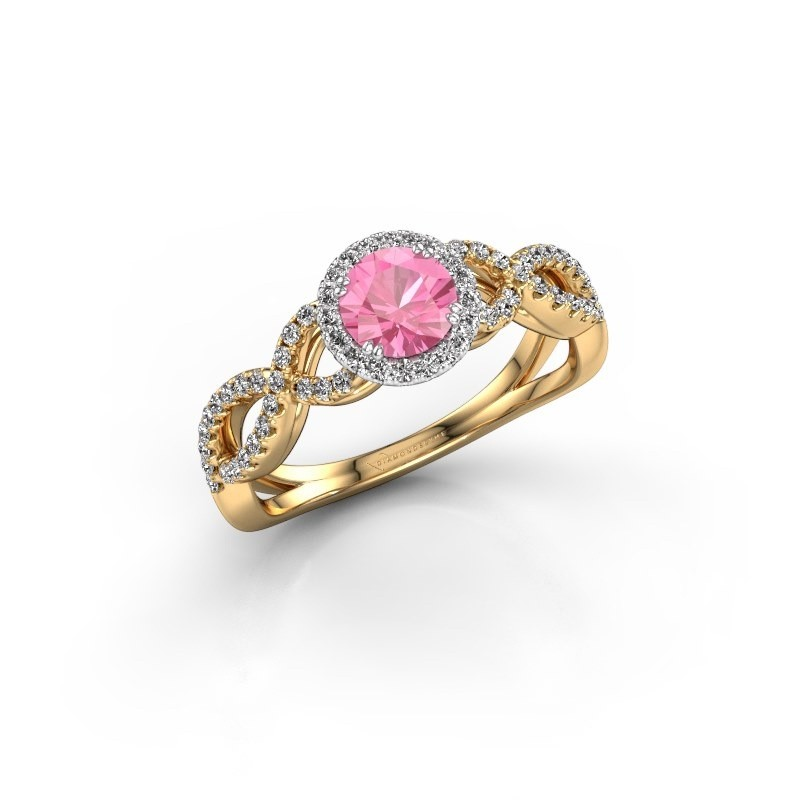 Engagement ring Dionne rnd 585 gold pink sapphire 5 mm
