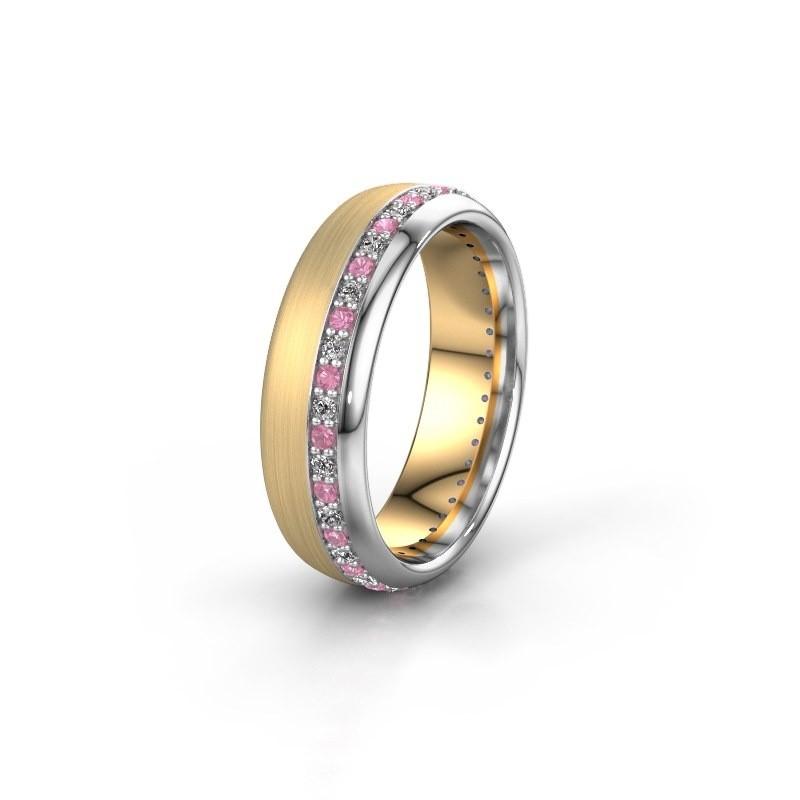 Trouwring WH0303L36BMP 585 goud roze saffier ±6x2 mm
