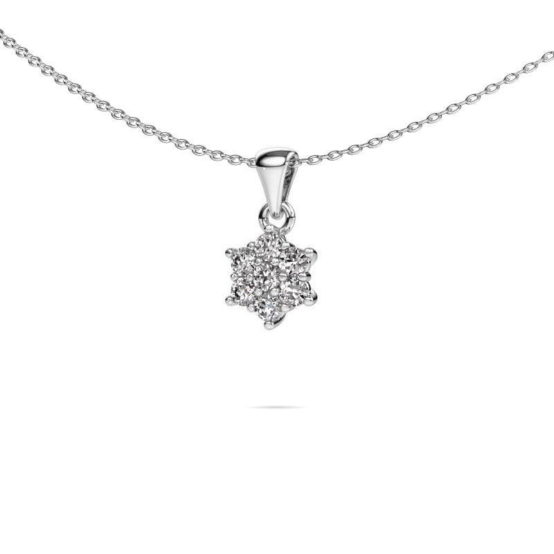 Ketting Chantal 585 witgoud zirkonia 2.4 mm