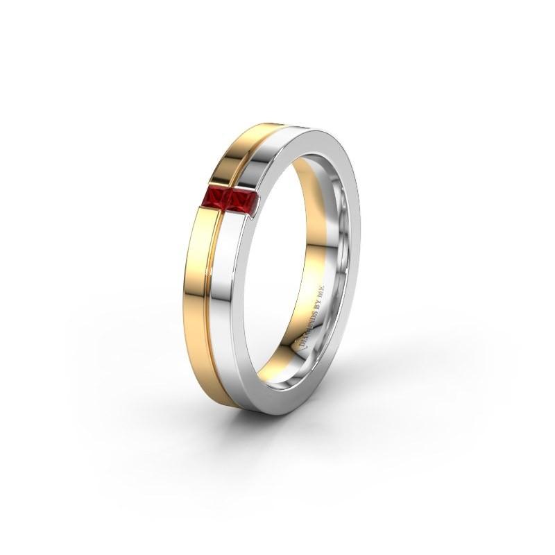 Wedding ring WH0225L14B 585 gold ruby ±4x2 mm