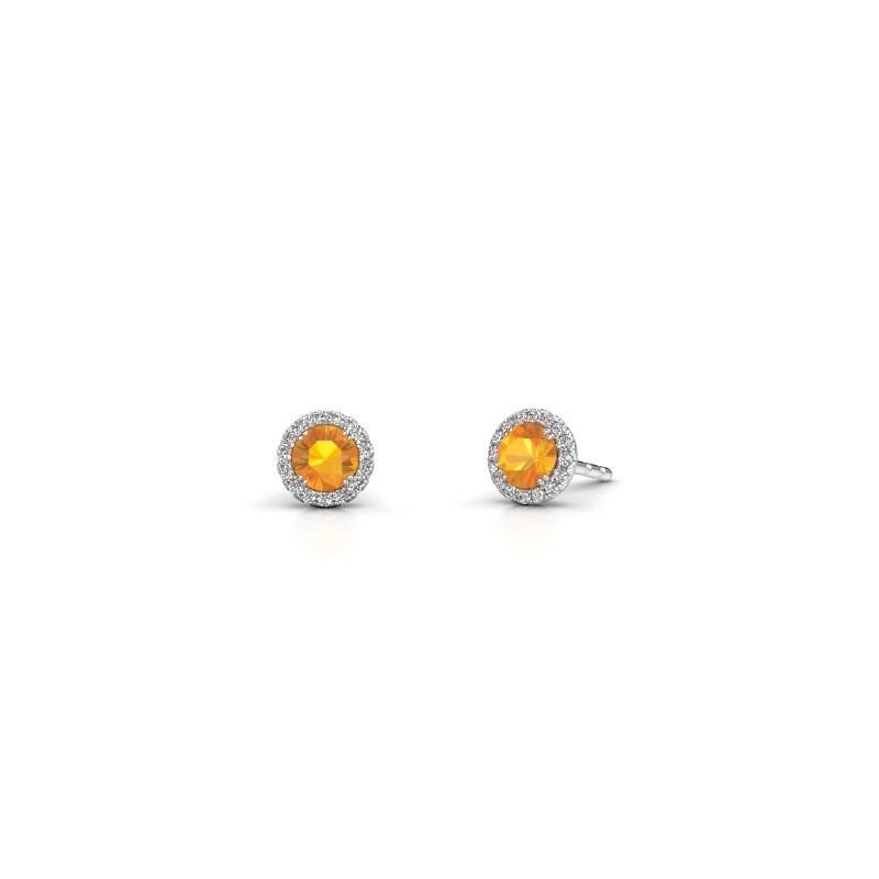 Earrings Seline rnd 585 white gold citrin 4 mm